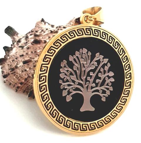 00c427832 Prívesok Marta z chirurgickej ocele strom života zlato čierna farba PR026