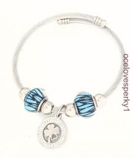 c000f87b4 Náramok Marta z chirurgickej ocele modré prívesky striebornej farby ND106  empty