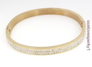 fd69580e0 Náramok obruč z chirurgickej ocele zlatej farby brúsené kamienky ND108 empty