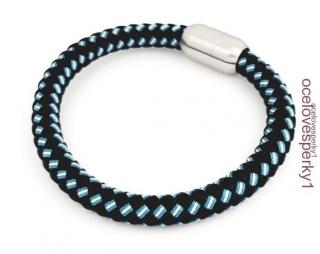 91cfff4bf Náramok Marta z chirurgickej ocele koža čiernej farby s modro bielym vzorom  PN193 empty
