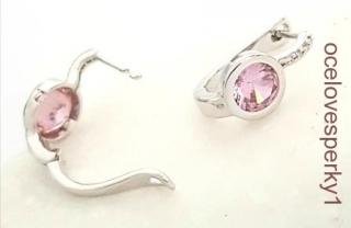 94fa84d41 Náušnice Marta z chirurgickej ocele zdobené zirkónom ružovej farby N035  empty